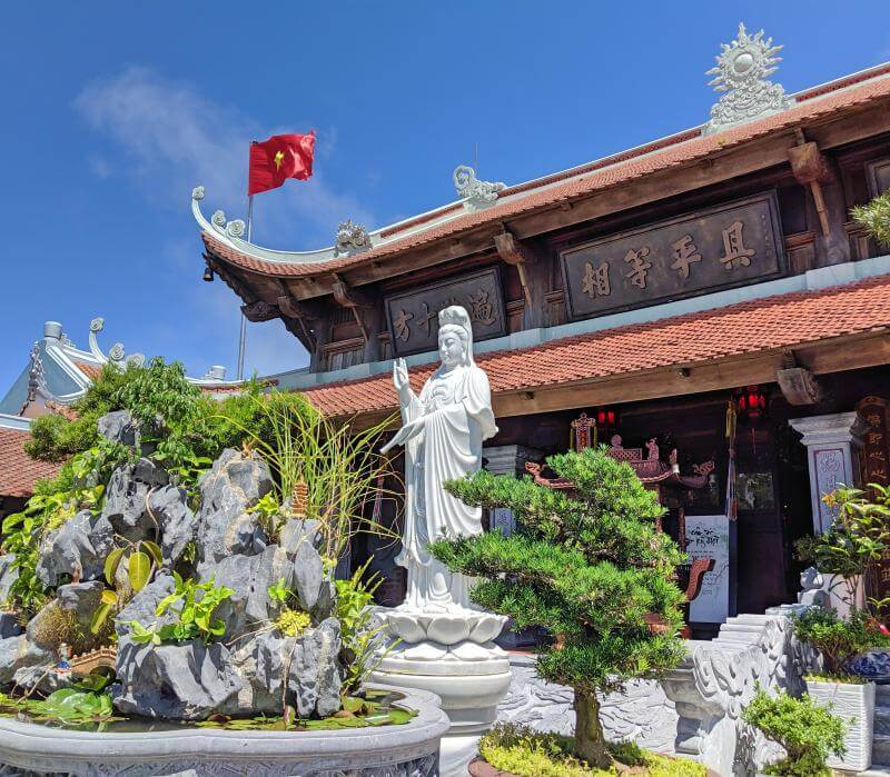 Lady Buddha is in the center of the Linh Phong Thin Tu Pagoda at Sun World Ba Na Hills in Danang, Vietnam. She is overlooking the mountainside.