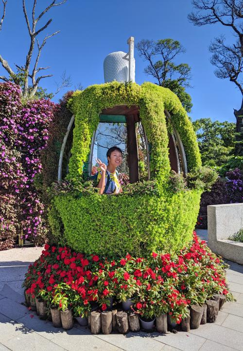 When you're at Ba Na Hills in Danang, Vietnam there is a cute cable car topiary that you can sit inside and take a photo of.