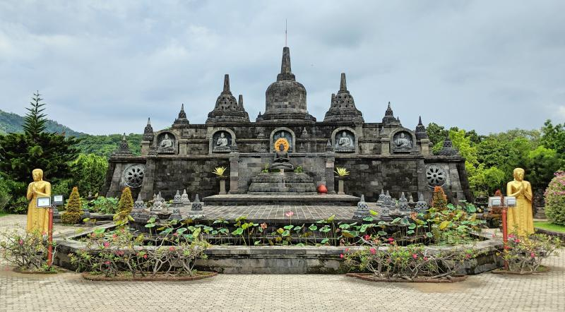 Brahma Vihara Arana is a Buddhist temple that has a mini version of Borobodur Temple in Java, Indonesia.