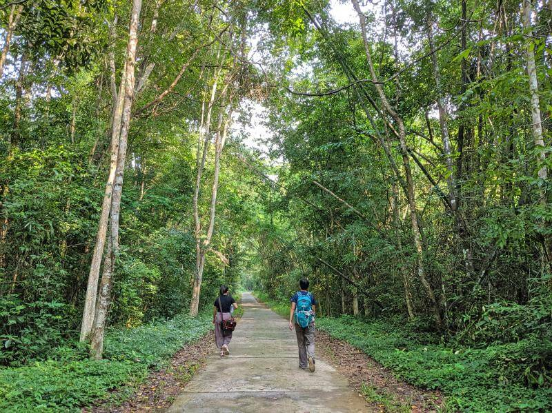 Jackie Szeto, Life Of Doing, and friend walk in Cat Tien National Park, Vietnam with stunning trees surrounding us
