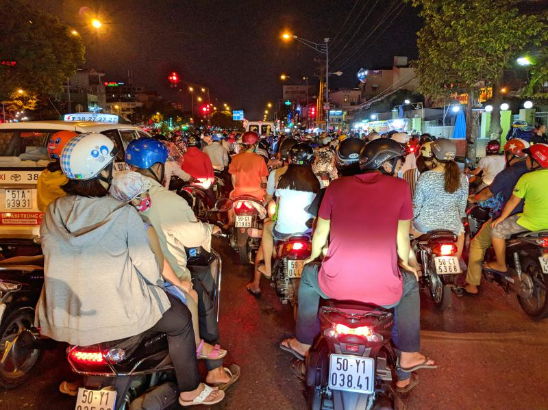 Heavy traffic with cars and motorbikes in Ho Chi Minh City, Vietnam