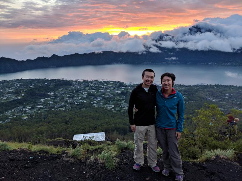 We hiked Mount Batur in the early morning to see the sunrise. We're overlooking the caldera and the lake. This is a bucket list item when visiting North Bali.