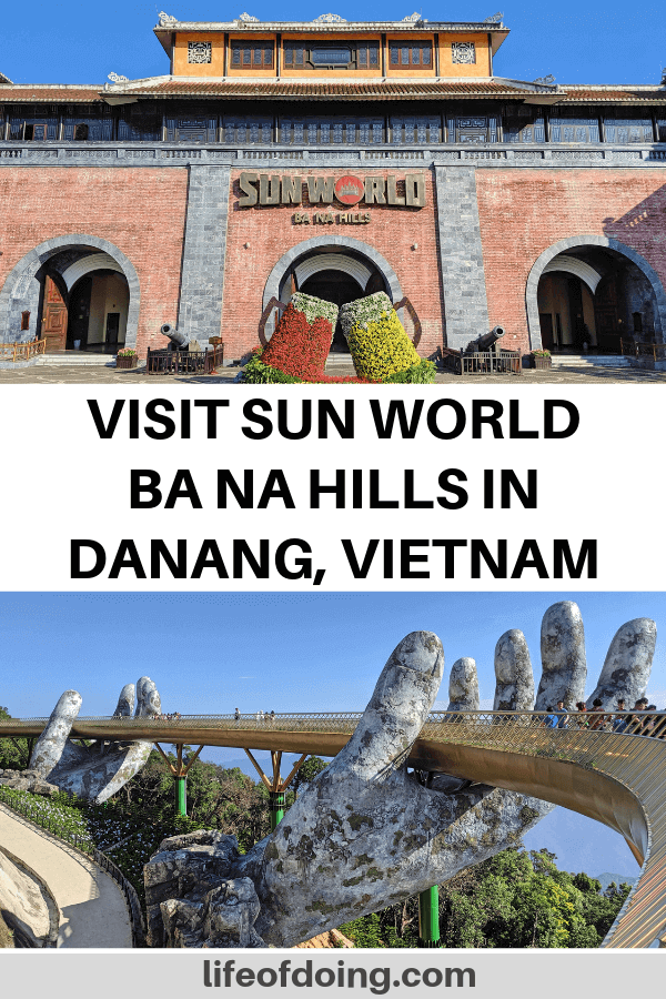 We're sharing our Sun World Ba Na Hills guide in Danang, Vietnam. It's famous for the Golden Hands Bridge and the beautiful gardens.