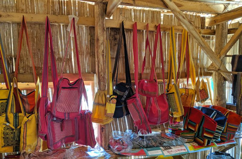 Local handicrafts such as purses and shoulder bags from the Ta Lai Village in the Cat Tien National Park area