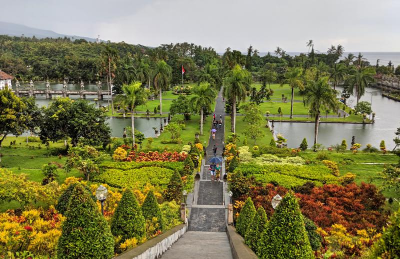 Viewpoint of the Taman Ujung Water Palace and the gardens at the top of the stairways.