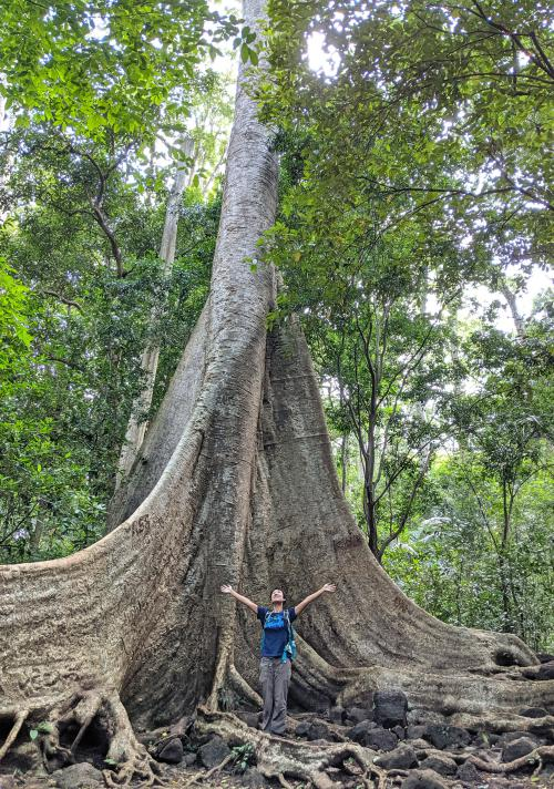 Jackie Szeto, Life Of Doing, stands with her arms up in front of the giant Tung Tree in Cat Tien National Park.
