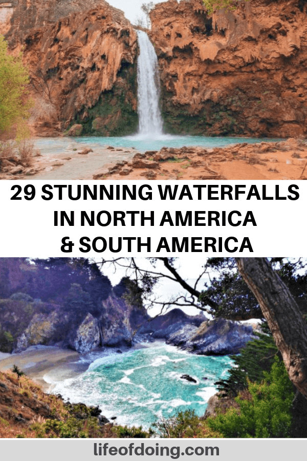 Best waterfalls in North America and waterfalls in South America. From top to bottom with photos: Havasu Falls in Arizona, U.S. and McWay Falls in California, U.S.