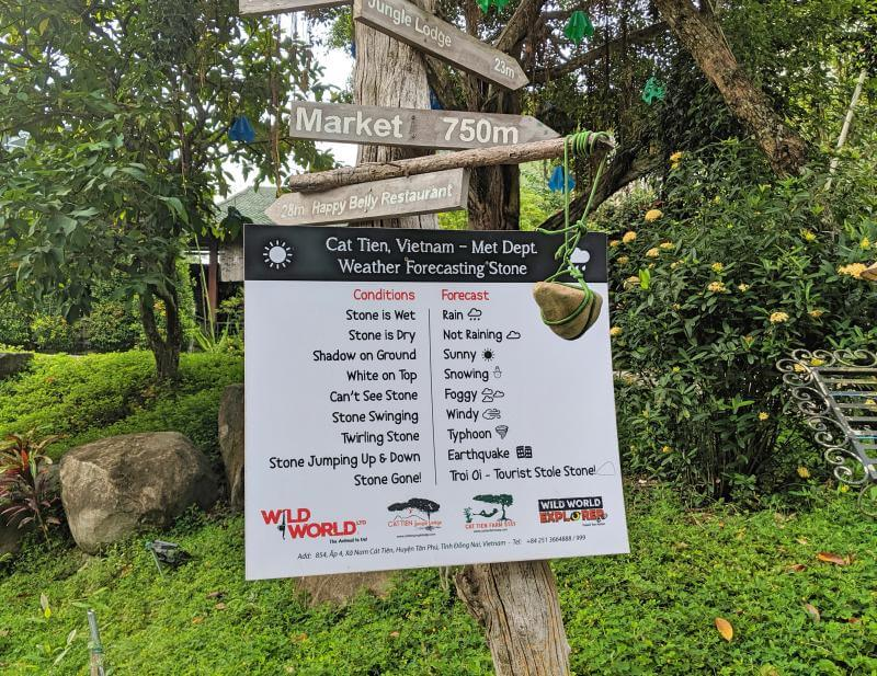 Cat Tien National Park weather forecast stone is a fun way to see the current weather.