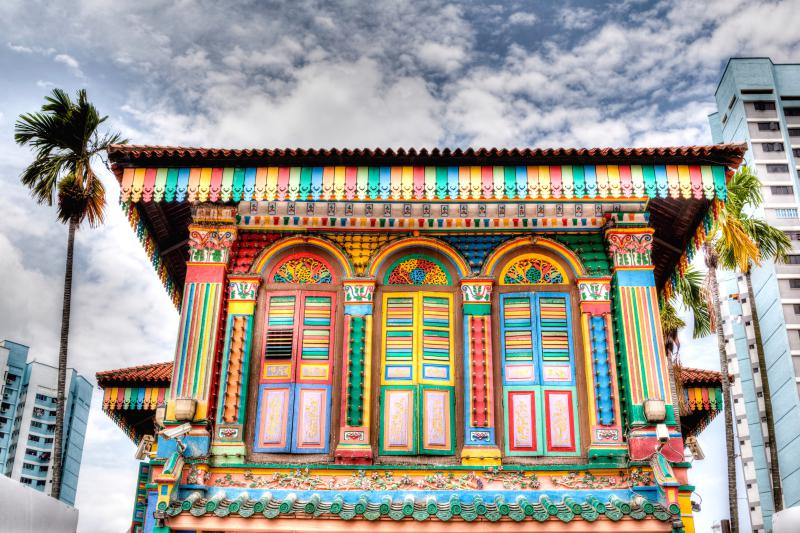 Former House of Tan Teng Niah in Singapore's Little India is a great stop during your 4 days in Singapore. The colorful walls and windows are eye-catching.