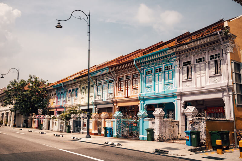 Colorful houses with Chinese architecture along Koon Seng Road's Peranakan street