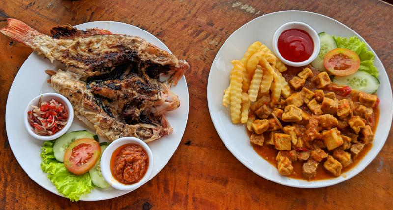 Dinner at Nusa Penida's Oqix Warung with grilled red snapper and tempeh and tofu stir fry with fries.