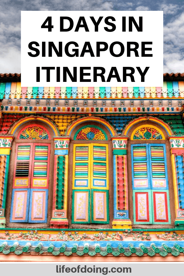 We're sharing what to do in 4 days in Singapore itinerary. Photo is of the Former House of Tan Teng Niah in Singapore's Little India.