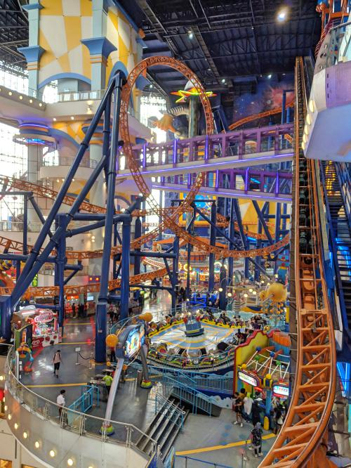 Berjaya Times Square in Kuala Lumpur, Malaysia has an indoor amusement park in the shopping mall.