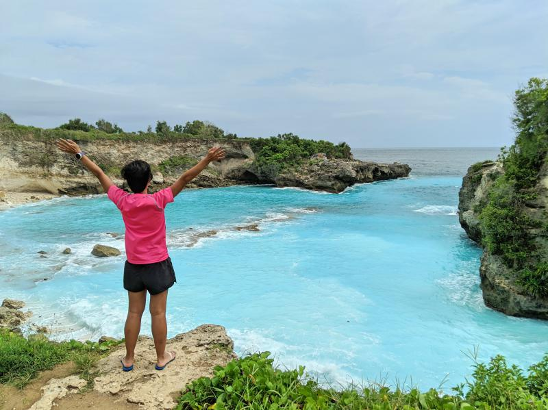 Jackie Szeto, Life Of Doing, at the Blue Lagoon at Nusa Ceningan, Indonesia.