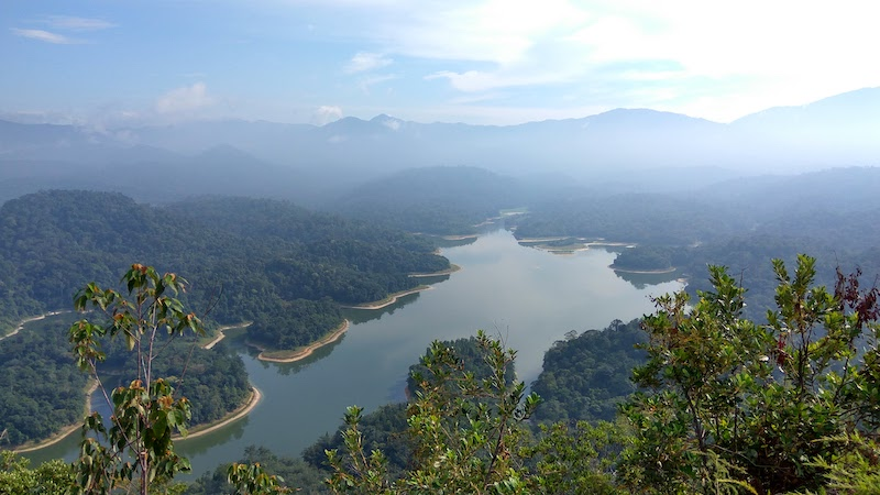 Aerial view of the hills and lake from the Dragonback Ridges hiking trail, a day trip from Kuala Lumpur
