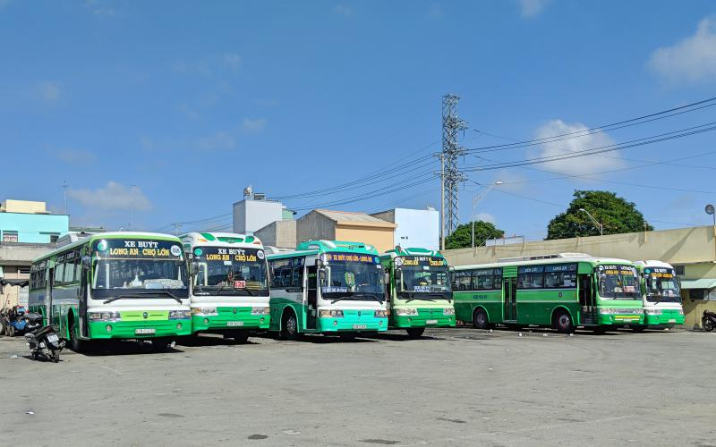 Local buses parked in an area in Ho Chi Minh City, Vietnam