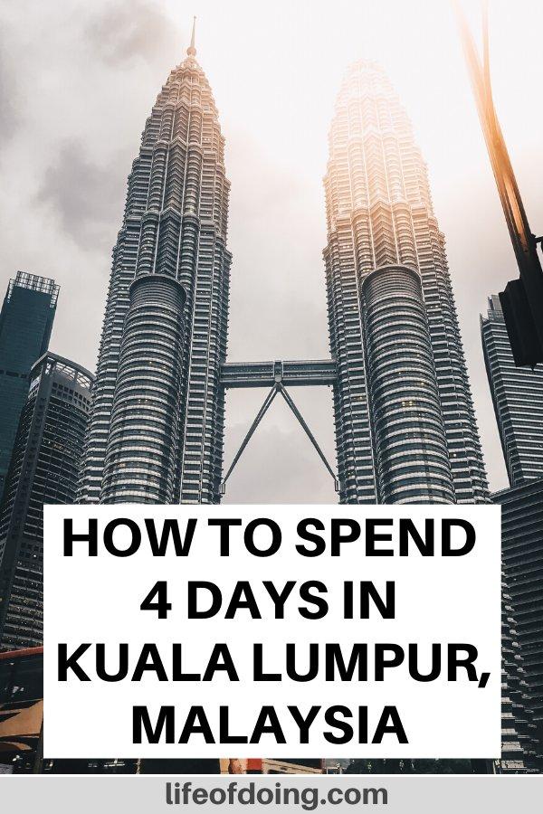 Sun shining on the Kuala Lumpur's Petronas Twin Towers