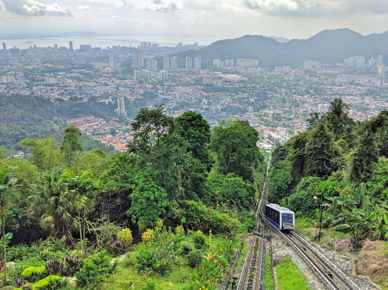 Hiking up Penang Hill is a great way to see the stunning views of the city and also see the cable car pass by. This place is highly recommended during your two days in Penang.