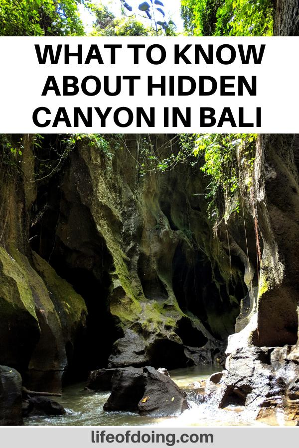 Hidden Canyon in Bali, Indonesia is a great adventure to experience. This photo highlights what the inside of the canyon looks like with large rocks and rushing water.