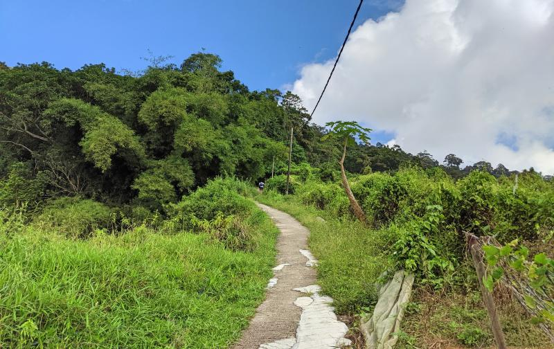 This is the single track trail along the Penang Hike Heritage Trail. You pass by houses and some gardens on the way to the Penang Hill peak.