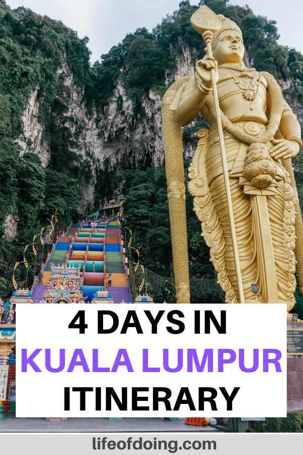 We're sharing our 4 days in Kuala Lumpur itinerary which includes a visit to the gorgeous Batu Caves.