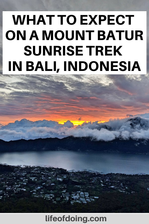 We're watching the sunrise on Mount Batur in Bali, Indonesia. Check out our post on what to expect with a Mount Batur sunrise trek.