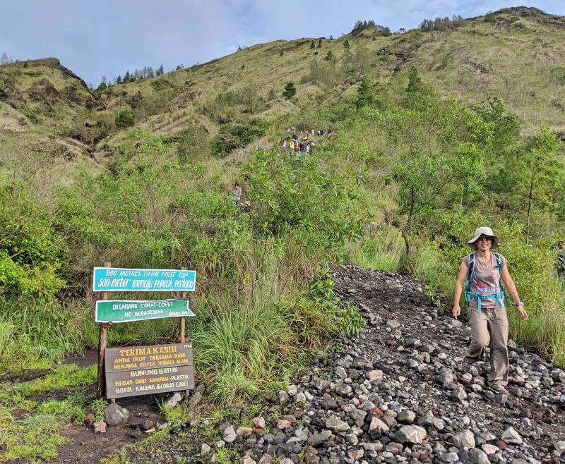Jackie Szeto, Life Of Doing, is on the way down from the Mount Batur summit during our Mount Batur sunrise trek