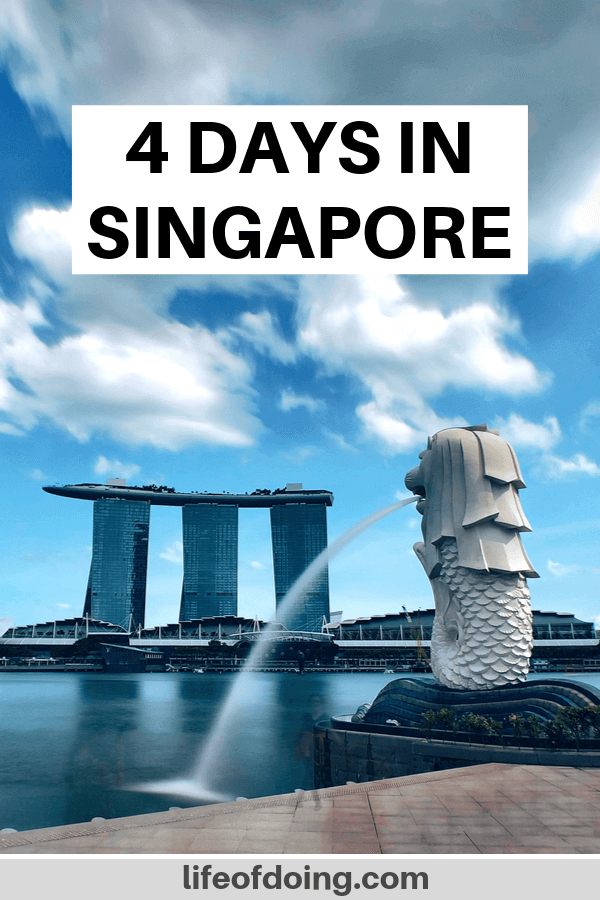 This post highlights how to spend 4 days in Singapore which includes a visit to the Merlion Park to see the merlion (half lion half mermaid) fountain.