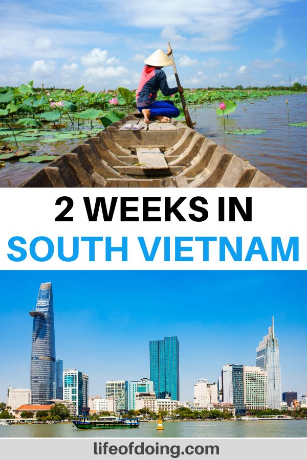 The top photo is of a woman rowing a sampan boat and wearing a conical hat along the Mekong River. The bottom photo is of the view of Ho Chi Minh City skyline. Check out our two weeks in South Vietnam itinerary for more information.