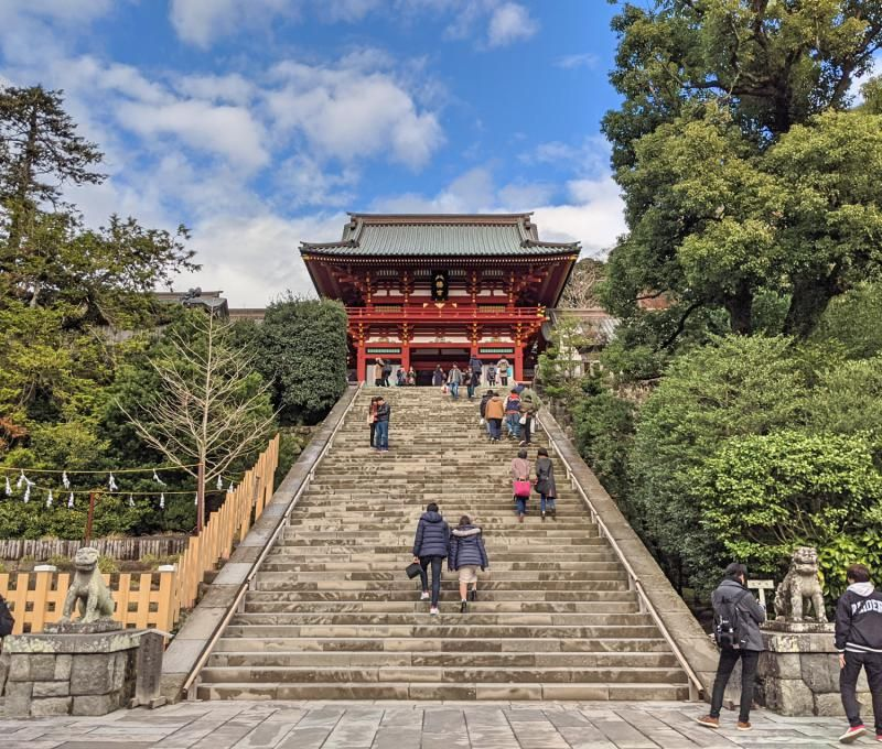 Tsurugaoka Hachimangu Shrine is a popular place to visit in Kamakura with its temples and shrine areas.