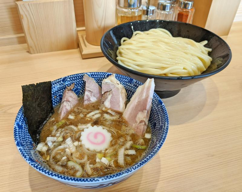 Ganja is a good place to eat in Kawagoe if you love tsukemen ramen. Here is a bowl of tsukemen noodles with the dipping soup with leeks, char siu, and seaweed.