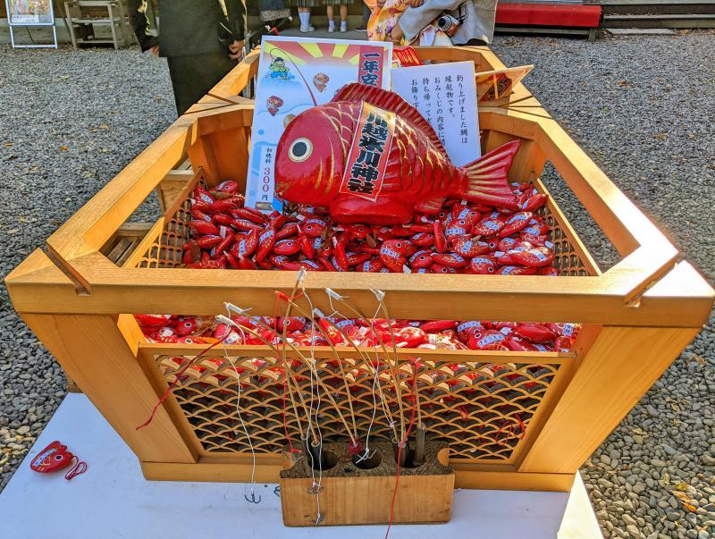 Visitors can fish for their fish fortune using the fishing road at the Kawagoe Hikawa Shrine.