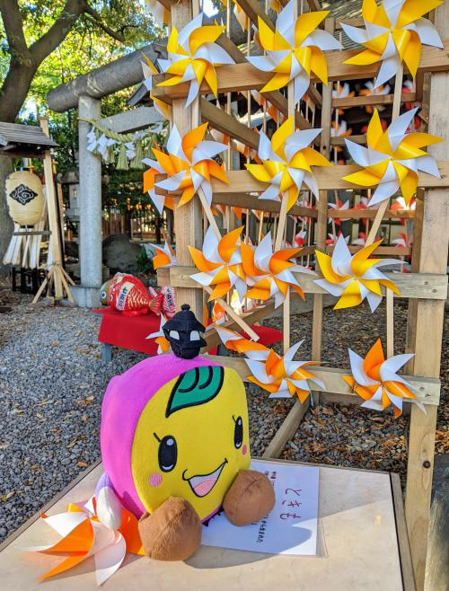 The Kawagoe Hikawa Shrine is a great place to visit on your Kawagoe day trip. This shrine has colorful pinwheels and the sweet potato mascot.