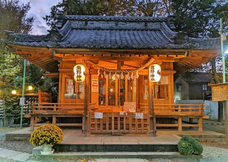 The Kumano Shrine in Kawagoe, Japan is beautiful when the lights come on in the evenings.