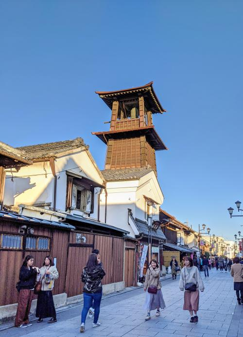 Visitors walk along the street that passes the Toki no Kane (Time Bell Tower), a famous spot in Kawagoe.
