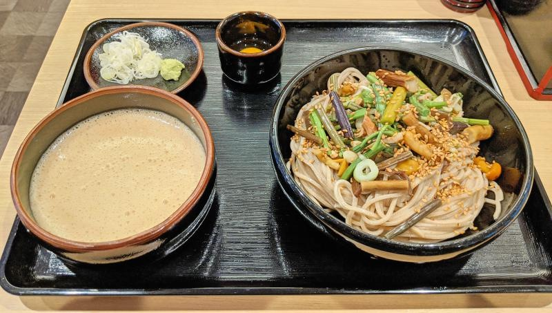 Enjoy a soba meal when you're visiting Mount Takao. We had cold soba with mountain vegetable, raw egg, and grated yams.