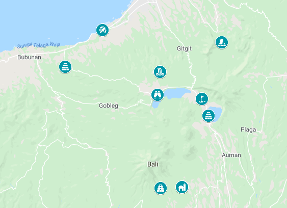 Map of the things to do in North Bali