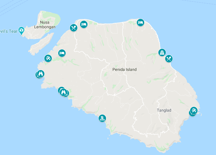Map of how to spend 2 days on Nusa Penida, Indonesia