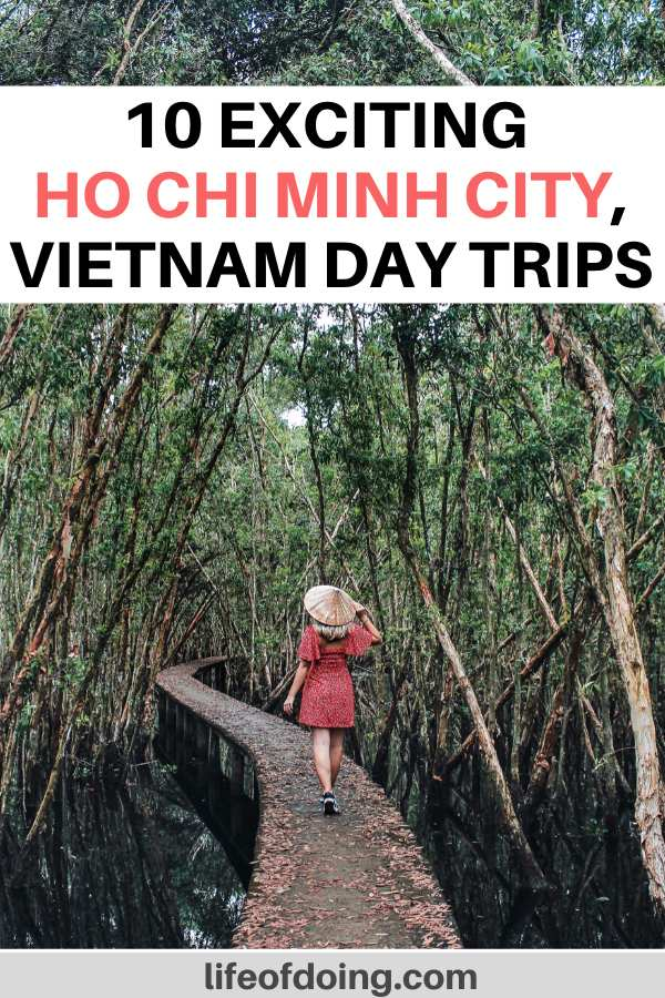 Where to go on a day trip from Ho Chi Minh City, Vietnam? This guide highlights the best Ho Chi Minh City day trips from the Mekong Delta to Cu Chi Tunnels and more. In the photo, a woman in a red dress walks in the forest area.