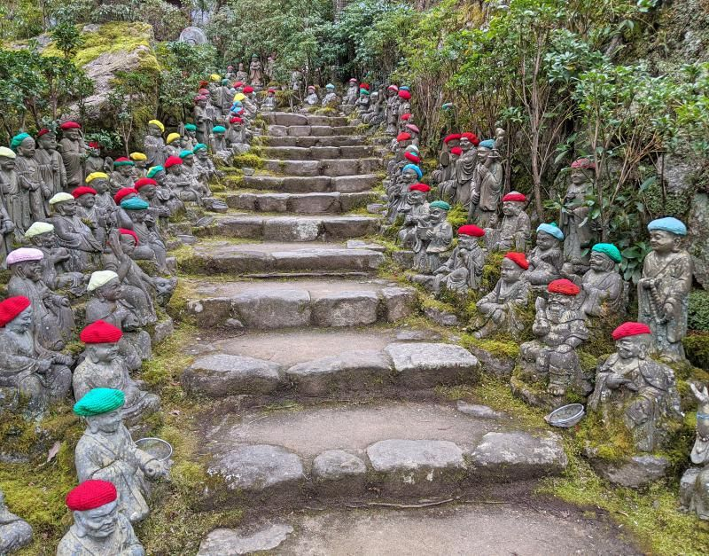 Daishoin Temple is a must-visit in Miyajima Island, Japan so you can see the 500 rakan (Buddha) statues wearing knitted hats.