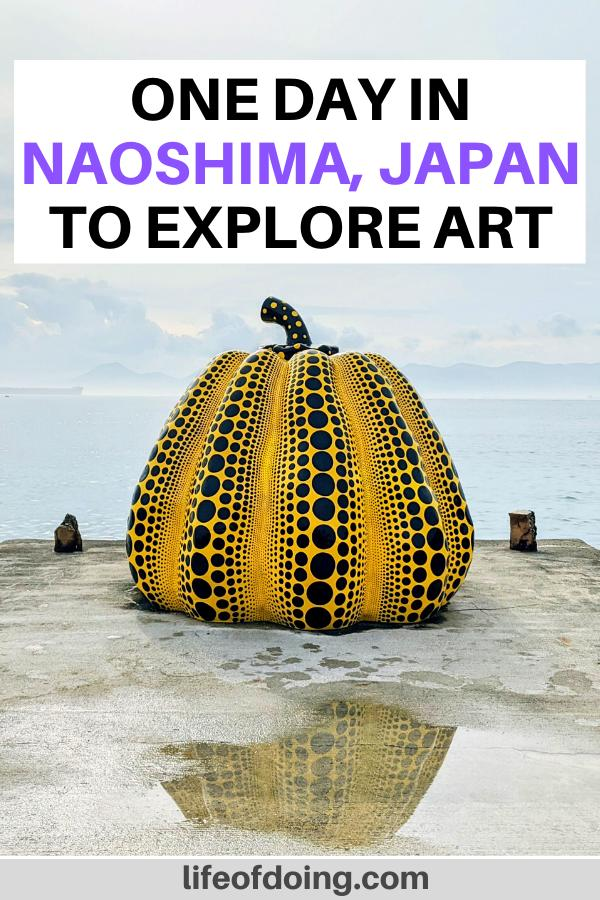 The Yellow Pumpkin sculpture with a water reflection on the ground in Naoshima, Japan. This post highlights a one day Naoshima itinerary.