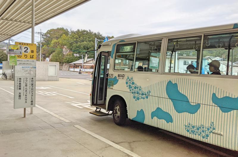 Here is the bus stop from Miyanoura Port that travels around the Naoshima Island.
