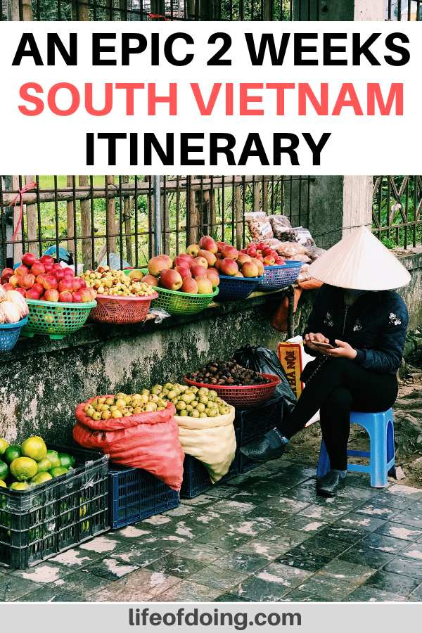 A Vietnamese woman wearing a conical hat sells fruits fruits on the side of the road. You'll see these vendors during your exploration of South Vietnam in 2 weeks.