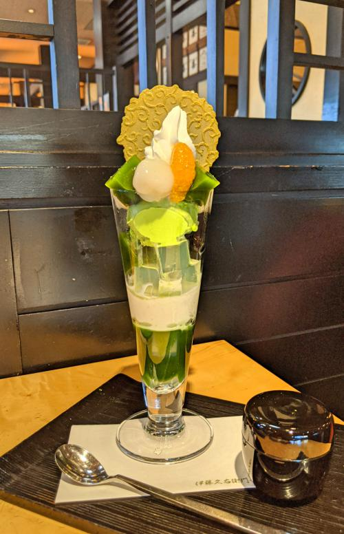 Eating Uji matcha parfait with jellies and ice cream at Itoh Kyuemon is a highlight when visiting Uji on a day trip.