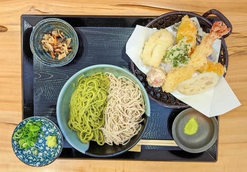 A lunch set of half matcha soba and regular soba with tempura at Tsubame-ya in Uji, Japan