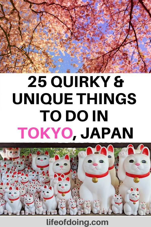 In this post we're sharing the top 25 quirky and unique things to do in Tokyo, Japan. From seeing cherry blossoms to the maneki-neko cats at a temple, you're bound to find something to do in Tokyo.