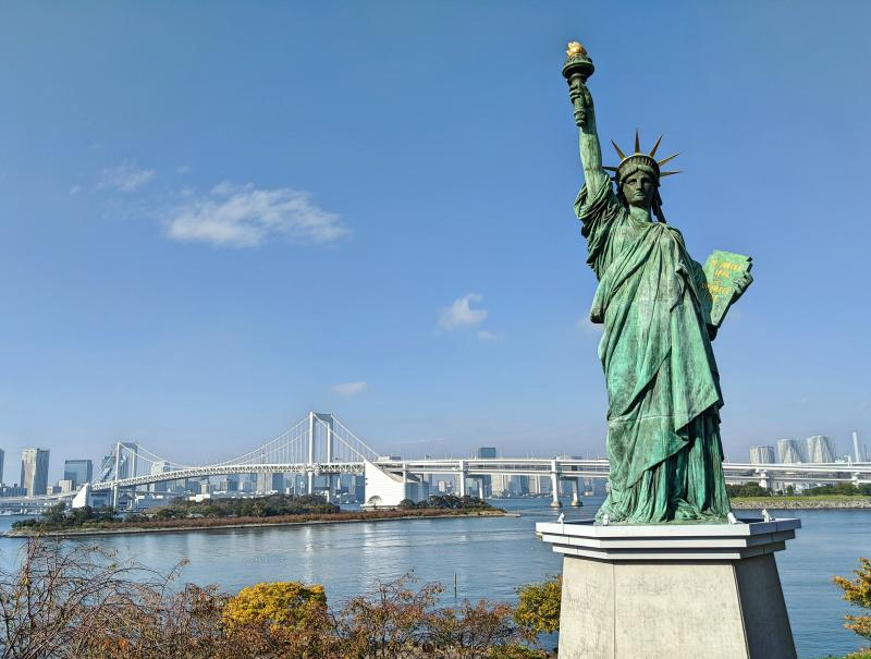 One of the unique things to do in Tokyo is to see the Mini Statue of Liberty in Odaiba, Tokyo.