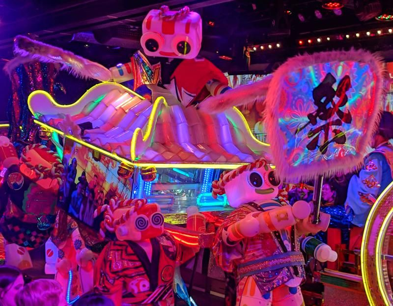 Robots dancing at the Robot Restaurant in Tokyo, Japan. It's one of the unique things to do in Tokyo.