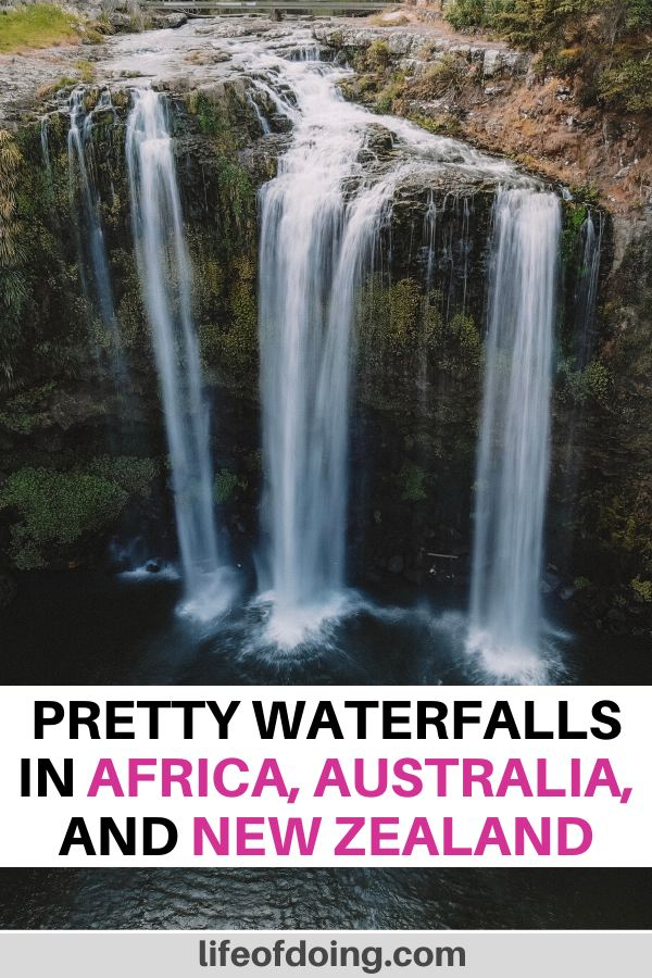 In this post, we're sharing the best waterfalls in Africa, Australia, and New Zealand. The photo is of the Whangarei Falls in New Zealand.
