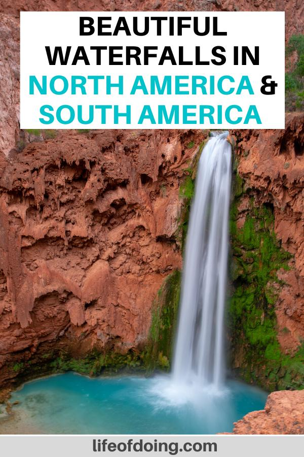 This post highlights the best waterfalls to visit in North America and South America. We're headed to places such as the USA, Canada, Costa Rica, Colombia, and more to see waterfalls. The photo here is of Havasu Falls in the US.